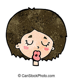 cartoon woman with eyes closed