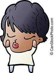 cartoon woman with eyes shut