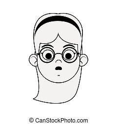 cartoon woman with glasses