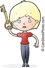 cartoon woman with key