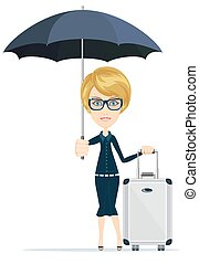 Cartoon woman with luggage, vector illustration