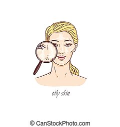 Cartoon woman with oily skin - magnifying glass showing ...