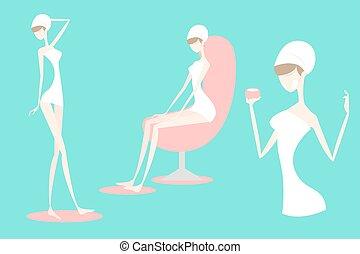 cartoon woman with spa