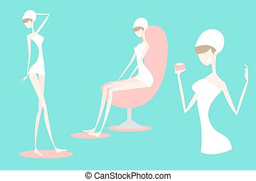 cartoon woman with spa