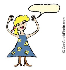 cartoon woman with speech bubble