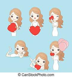 cartoon woman with valentine day
