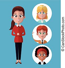 cartoon woman work office standing with people together