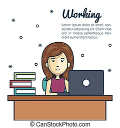 cartoon woman working laptop desk design
