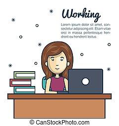 cartoon woman working laptop desk design