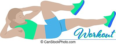 Cartoon woman working out, vector