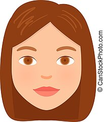 Cartoon Women Face isolated on white background. Vector