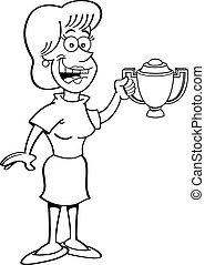 Cartoon women holding a trophy.
