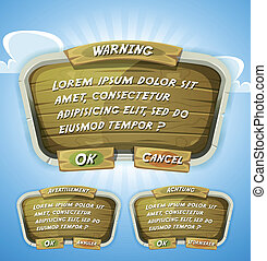 Cartoon Wood Agreement Panel For Ui Game - Illustration of a...