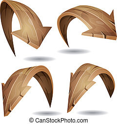 Cartoon Wood Arrows Signs Set