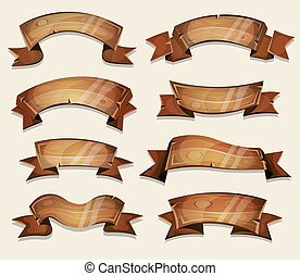 Cartoon Wood Banners And Ribbons For Ui Game - Illustration...