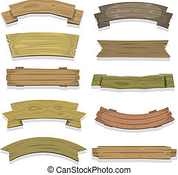 Cartoon Wood Banners And Ribbons - Illustration of a set of ...