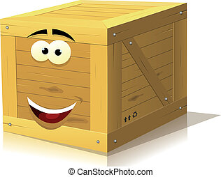 Cartoon Wood Box Character