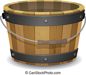 Illustration of a cartoon empty rural wooden bucket with handle and metal strapping
