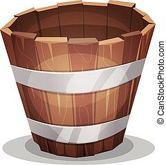 Cartoon Wood Bucket - Illustration of a cartoon empty rural...