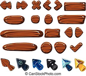 Cartoon Wood Icons Vector Illustrations