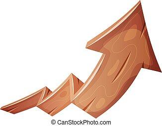 Cartoon Wood Rising Arrow