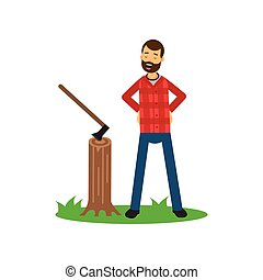 Cartoon woodcutter character standing on green grass with arms akimbo near tree stump with ax