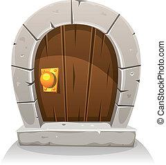 Cartoon Wooden And Stone Hobbit Door - Illustration of a...