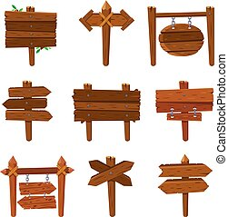 Cartoon wooden arrows. Vintage wood sign boards and arrow signs. Isolated signpost vector set