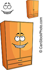 Cartoon wooden bedroom cupboard or wardrob