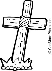 cartoon wooden cross grave