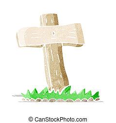 cartoon wooden cross grave