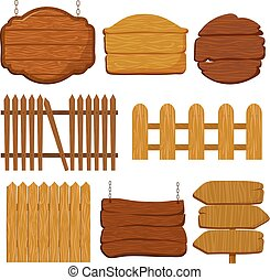 Cartoon wooden garden fence. Blank wood banners and signs vector set
