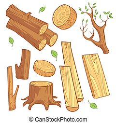 Cartoon wooden materials, lumber, firewood, wood stump vector set