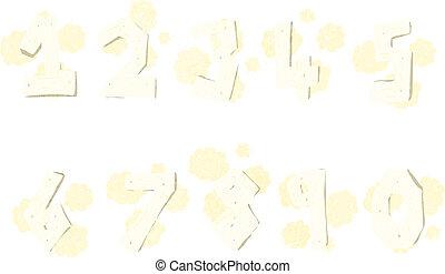 cartoon wooden numbers