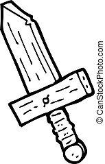 cartoon wooden sword