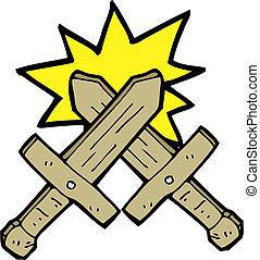 cartoon wooden sword fight