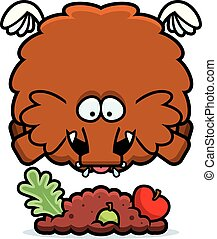Cartoon Woolly Mammoth Eating - A cartoon illustration of a...