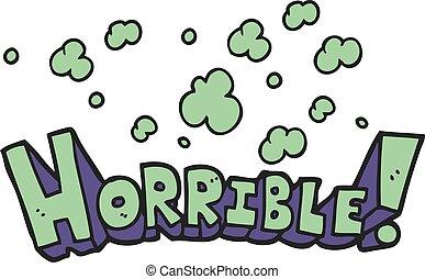 cartoon word horrible - freehand drawn cartoon word horrible