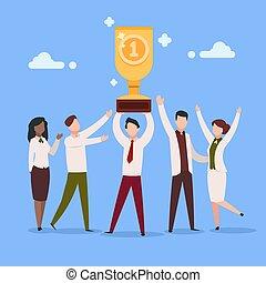 Cartoon work award. Office employee work reward businessman character professional prize people group. Success awards vector