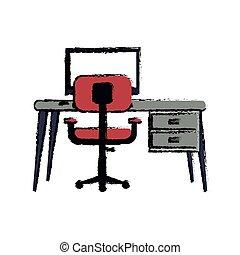 cartoon workplace modern pc pink armchair desk