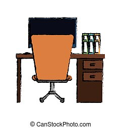 cartoon workplace office space equipment design vector...