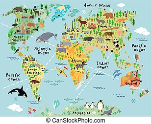 Cartoon world map with landscape and animal. Vector illustration.