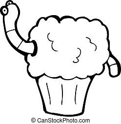 cartoon worm in cupcake