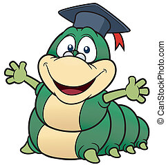 Cartoon worm professor - Vector illustration of Cartoon worm...