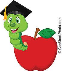 Cartoon Worm wearing a raduation ca - Vector illustration of...