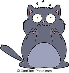 cartoon worried cat