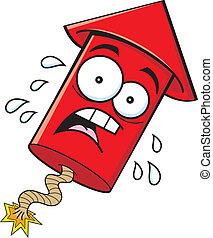 Cartoon Worried Firecracker - Cartoon illustration of a...