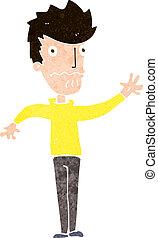 cartoon worried man reaching out