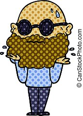 cartoon worried man with beard and sunglasses
