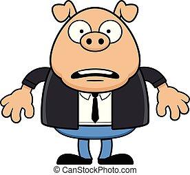 Cartoon Worried Pig Wearing a Suit
